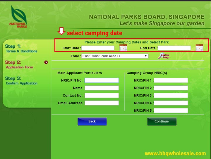 Apply-Camping-Permit-Select-Date-Singapore